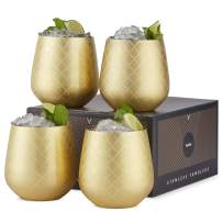 VonShef Gold Stemless Wine Glasses, Etched Gold Stainless Steel, 12oz Cups, Set of 4 Wine Tumblers with Gift Box
