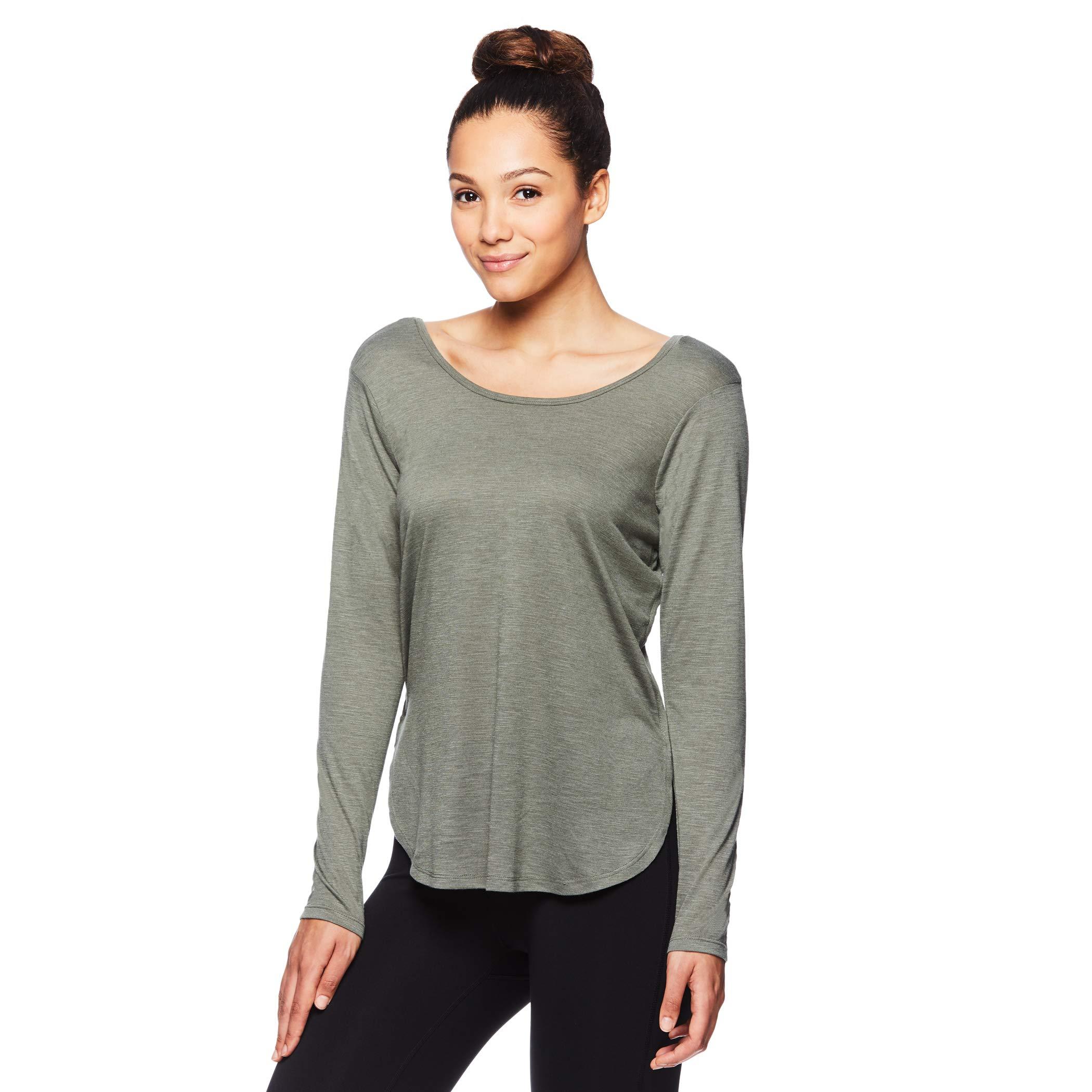 Gaiam Women's Strappy Open Back Yoga Shirt - Long Sleeve Activewear Top w/Side Slits