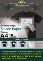 TransOurDream Tru-Silicon Paper for T Shirts Heat Transfer (10 Sheets, A4 Size) Silicone Paper for Heat Press & Iron (TRANS-020-10)
