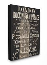 Stupell Industries London Landmark Typography Oversized Stretched Canvas Wall Art, 24 x 1.5 x 30, Multi-Color