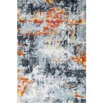 Decomall Vienna Abstract Watercolor Shabby Chic Accent Area Rug for Living Room, Bedroom, 4x6', Multicolor