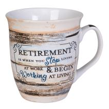 Retirement Working At Living Distressed Wood Design 16 Ounce Ceramic Stoneware Coffee Mug