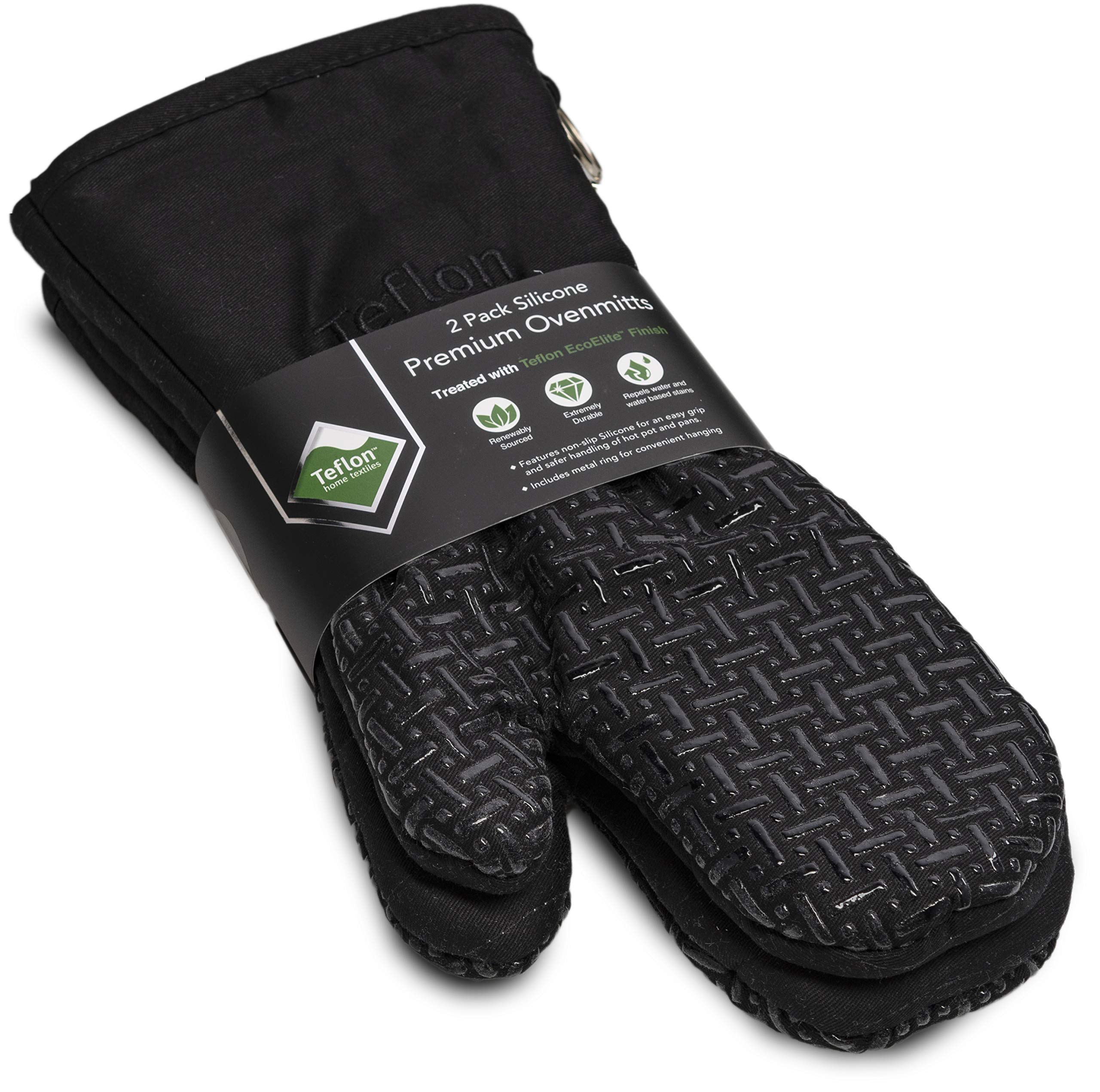 XLNT Extra Long Oven Mitts (Black) | Heat Resistant Kitchen Gloves for Oven Cooking, Grill & BBQ | Non Slip Silicone Gloves with Teflon Eco Elite Coating, Cotton Lining & Hanging Loop