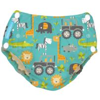 Charlie Banana Reusable Easy Snaps Swim Diaper, Gone Safari, X-Large