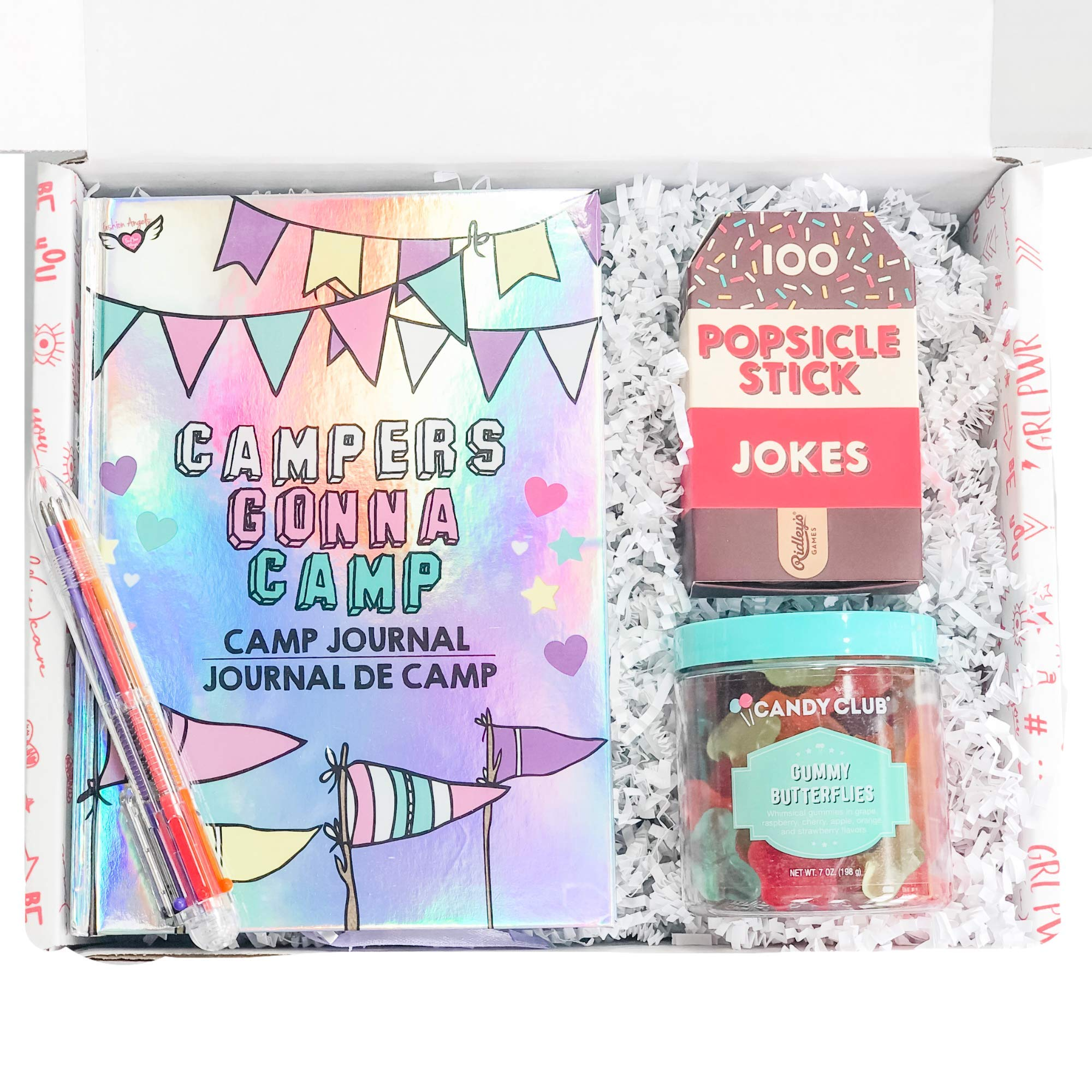 STRONG self(ie) Happy Camper Summer Camp Care Package for Girls with Journal, Multicolor Pen, Ice Breaker Jokes and Butterfly Gummy Candies - A Sleep Away Camp Gift Box