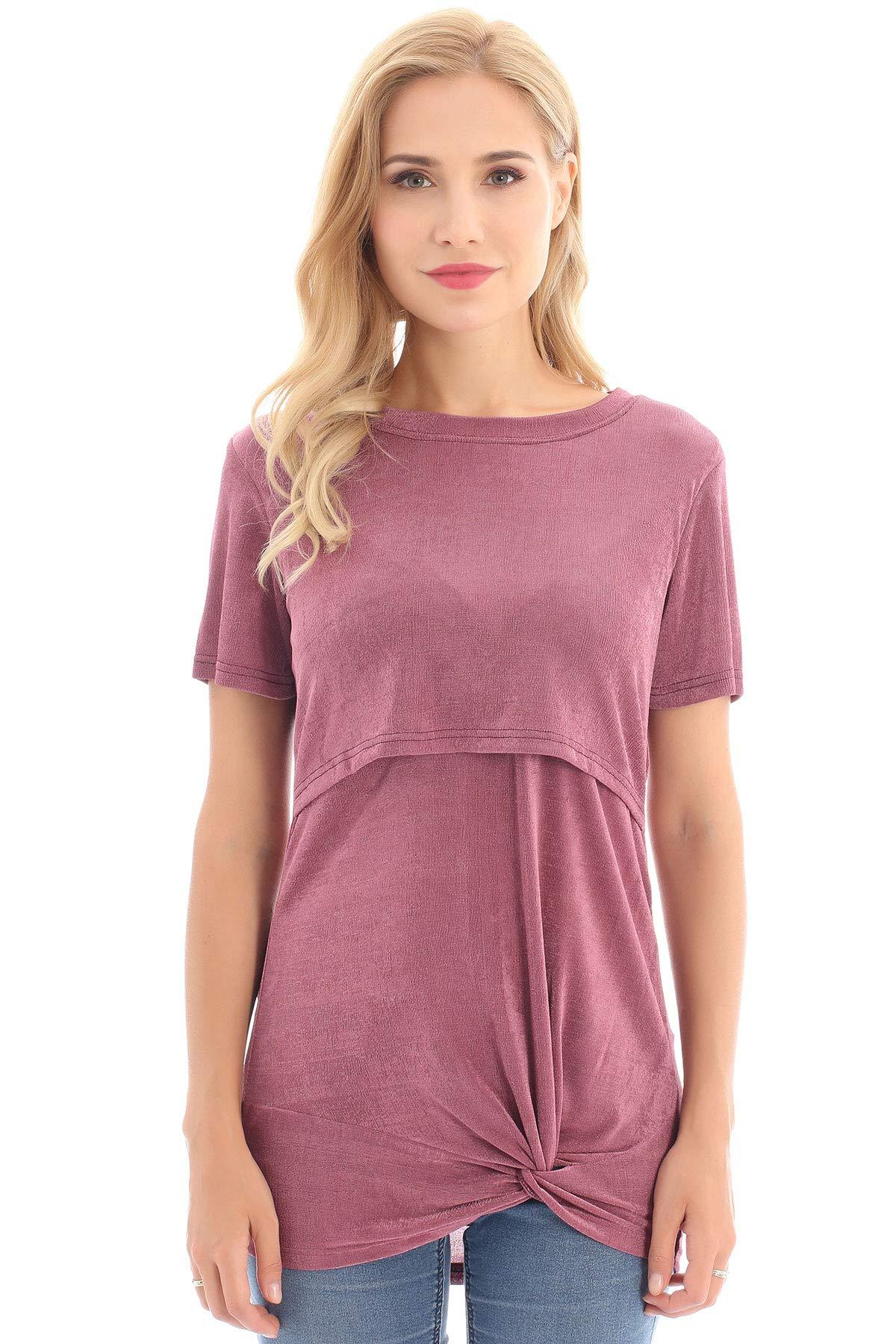 Bearsland Women's Short Sleeve Nursing Tops for Breastfeeding Tee Shirts Double Layer Pregnancy Shirt