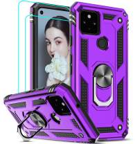 LeYi Google Pixel 5 Case (2020) with [2 Pack] Tempered Glass Screen Protector, [Military-Grade] Defender Protective Phone Case with Ring Magnetic Kickstand for Google Pixel 5, Purple