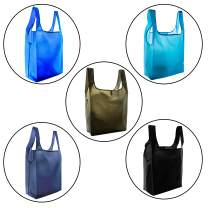 Incredible Packaging-Strong Reusable Grocery Bags,Eco Friendly Grocery Tote Foldable Into Pouch,Ripstop Polyester,Washable,Durable,Lightweight,5 Count. (Black, Navy, Moss, Royal, Teal)