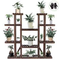 """VIVOSUN 9 Tier Wooden Plant Stand Carbonized 17 Potted Flower Shelf Display Rack Holder 44.5"""" High Flower Stand for Patio Garden Balcony Indoor Outdoor"""