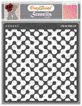 CrafTreat Geometric Stencils for Painting on Wood, Wall, Tile, Canvas, Paper, Fabric and Floor - Abstract Connected Arc Stencil - 6x6 Inches - Reusable DIY Art and Craft Stencils