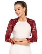 Zeagoo Women's 3 4 Sleeve Bolero Shrugs Crochet Lace Open Cardigan