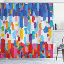 """Ambesonne Art Shower Curtain, Colorful Abstract Painting Style in Contrasting Colors French Flag Pattern Brush Mark, Cloth Fabric Bathroom Decor Set with Hooks, 70"""" Long, Multicolor"""