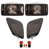 ECOTRIC Smoke Bumper Signal + Fender Side Marker Lights Combo Compatible with 1997-2006 Jeep Wrangler TJ Chassis