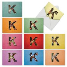 The Best Card Company - 10 Bulk Blank Note Cards (4 x 5.12 Inch) - Floral Letters, Greeting Card Assortment - Baroque Blooms K M3838OCB-B1x10