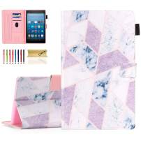 Dteck Wallet Case for Kindle Fire HD 8 Tablet (8th Generation 2018 & 7th Generation 2017 & 6th Generation 2016) - Smart Stand Folio Cover with Auto Sleep Wake/Pencil Holder/Stylus Pen (Marble Pink)