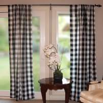 """lovemyfabric Big Buffalo 2 Inch Checkered 100% Polyester Curtain Window Treatment/Decor Panel Country Style- Black and White (2, 56""""X36"""")"""