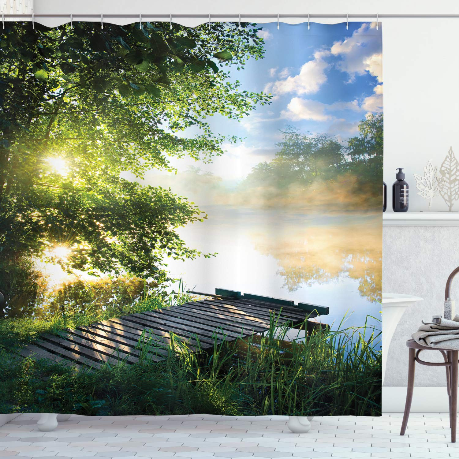 """Ambesonne Landscape Shower Curtain, Fishing Pier by River in The Morning with Clouds and Trees Nature Image, Cloth Fabric Bathroom Decor Set with Hooks, 84"""" Long Extra, Green Blue"""
