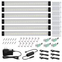 Onforu LED Under Cabinet Lighting Kit, 3 Adjustable Lights Color 2400lm Dimmable Strip Lights, Warm/Daylight/Neutral White Optional Under Counter Light Bar, DC 12V Closet Lights, Set of 6