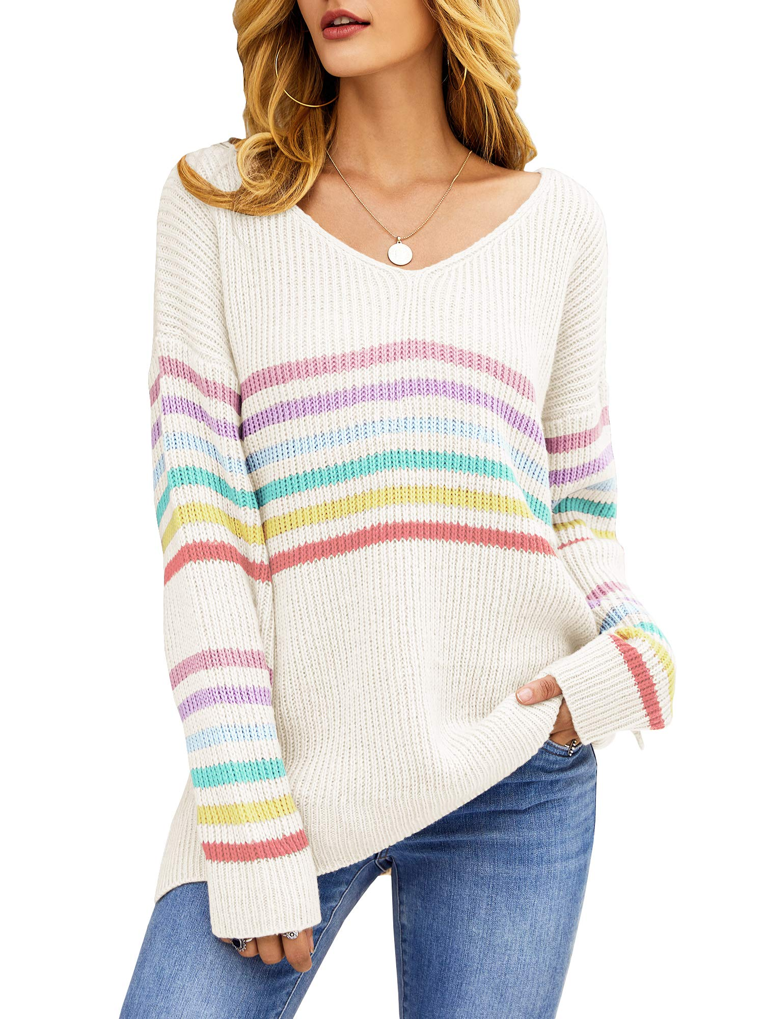 Sherrylily Womens Oversized Pullover Rainbow Long Sleeve Stripe Sweaters Casual V Neck Loose Tops