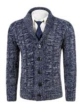 MIEDEON Mens Casual Stand Collar Cable Knitted Button Down Cardigan Sweater