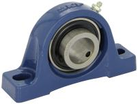 """SKF SY 1.3/8 TF Pillow Block Ball Bearing, 2 Bolts, Setscrew Locking Collar, Contact Flinger Seals, Cast Iron, Inch, 1-3/8"""" Shaft, 1-7/8"""" Base To Center Height, 4-31/32"""" Bolt Hole Spacing Width, 4410 pounds Dynamic Load Capacity"""