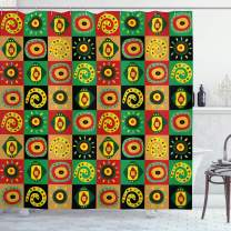 """Ambesonne African Shower Curtain, Abstract Design with Trippy Shapes Culture Hieroglyph Print, Cloth Fabric Bathroom Decor Set with Hooks, 75"""" Long, Green Red"""