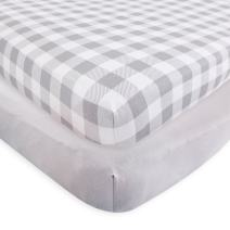 Touched by Nature Unisex Baby and Toddler Organic Cotton Crib Sheet, Plaid Solid Gray, One Size