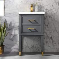 "UrbanFurnishing.net Clara 20"" Single Bathroom Vanity with Porcelain Top - Gray"