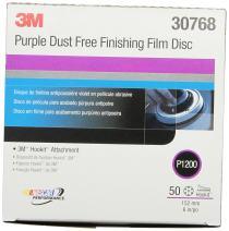 3M Hookit Purple Finishing Film Abrasive Disc 260L, 30768, 6 in, Dust Free, P1200, 50 discs per carton