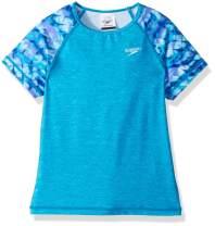 Speedo Girls' Rashguard-Short Sleeve Swim Shirt, Capri Breeze