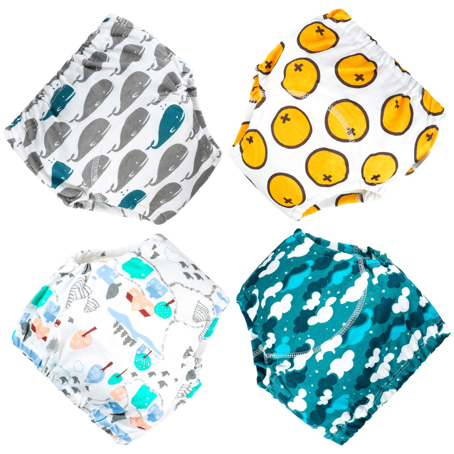 [2020 Newest] 4 Pack Potty Training Pants for Baby and Toddler Boys,Pure Cotton,Adorable and Comfortable