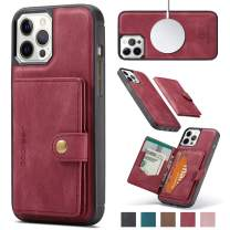 """JEEHOOD MagSafe Leather Wallet Case with Removable Card Holder for Apple iPhone 12 Pro Max & 12 Pro & 12 & 12 Mini - Apple MagSafe Charger Compatible - 2021 New Designed for 6.1"""" iPhone 12 - Red"""