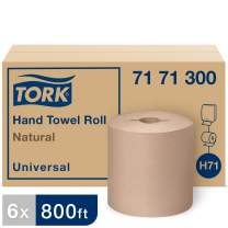 Tork Universal Hand Towel Roll H71, Large Paper Towel Roll 7171300, 100% Recycled, Basic Quality, 1-Ply, Natural - 6 Rolls x 800 ft