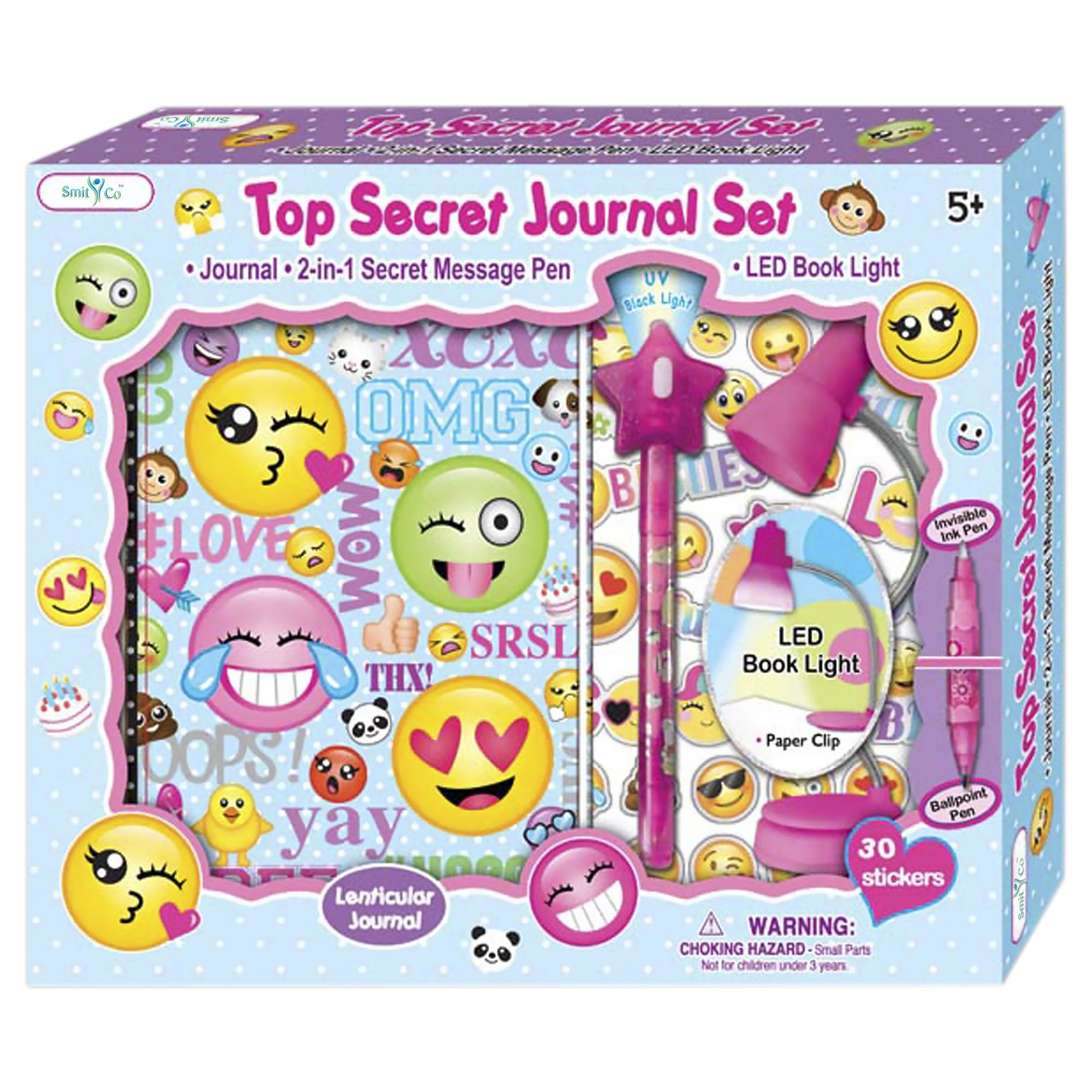 SMITCO Journal for Girls - Cute Emoji Lined Diary Book Set - Birthday Gift for 5 to 12 Year Old Kids with Invisible Ink Pen and Clip On LED Light to Keep Her Secrets Safe - First Writing Diaries