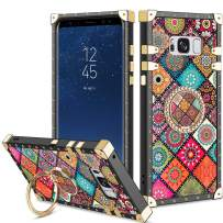 Vofolen Cover for Galaxy S8 Case Ring Holder Kickstand Exotic Colorful Square Diamond Rivet Protective Soft Shell Rotational Fold-able Clip Anti-Slip finger Loop for Samsung Galaxy S8 (Mandala Flower)
