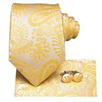 Hi-Tie Paisely Silk Necktie Set with Handkerchief for Business Wedding Party