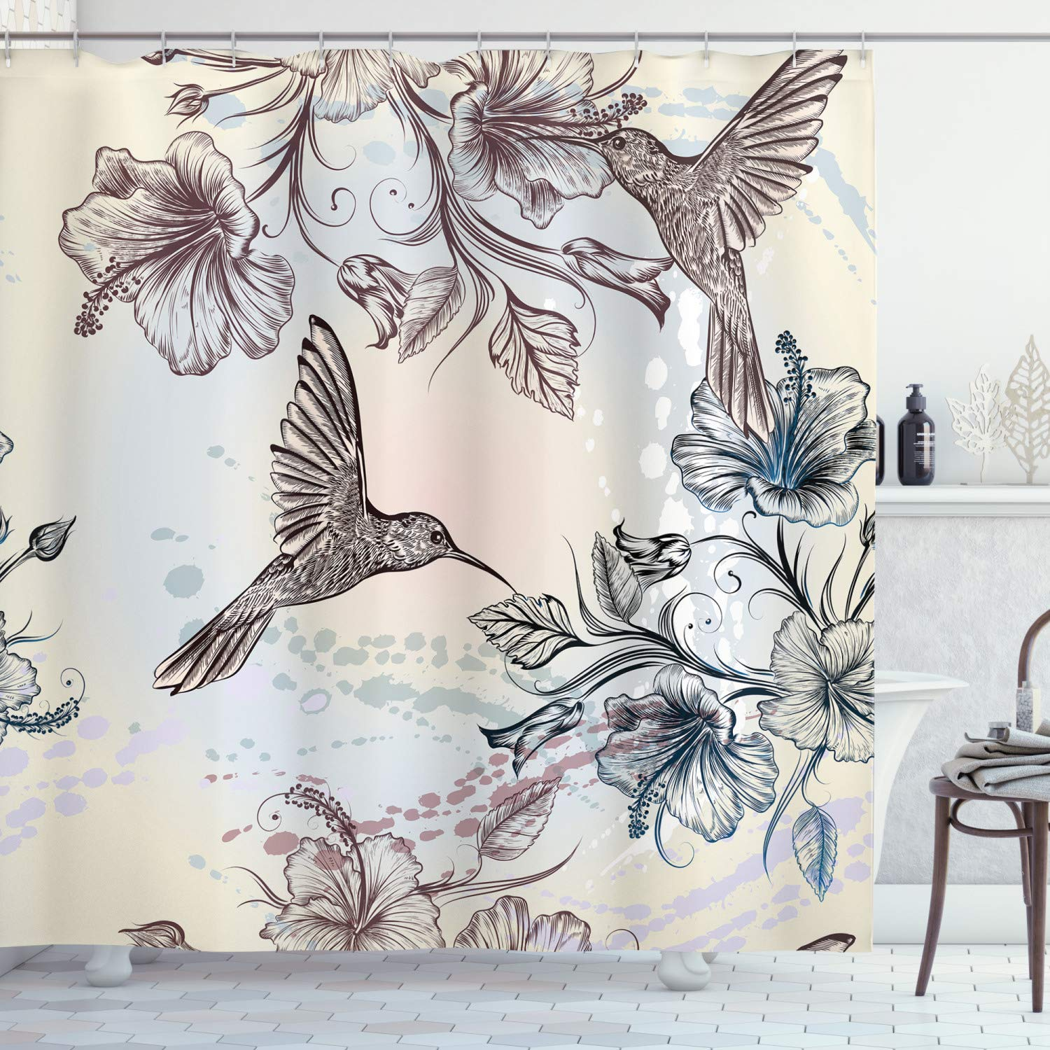 """Ambesonne Hummingbird Shower Curtain, Birds and Hibiscus Flowers Nostalgia Antique Design Classical Print, Cloth Fabric Bathroom Decor Set with Hooks, 70"""" Long, Teal Brown"""
