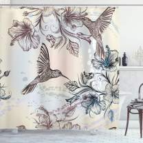 """Ambesonne Hummingbird Shower Curtain, Birds and Hibiscus Flowers Nostalgia Antique Design Classical Print, Cloth Fabric Bathroom Decor Set with Hooks, 84"""" Long Extra, Teal Brown"""