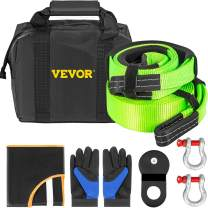 """VEVOR Winch Recovery Kit, 100% Nylon & Forged Steel Snatch Block Kit with 3""""x20' Towing Strap + 3""""x8' Tree Saver Strap & 2 D-Ring Shackles of 58000 LBS/26308 KG Each, Off Road Recovery Gear 8PCS"""