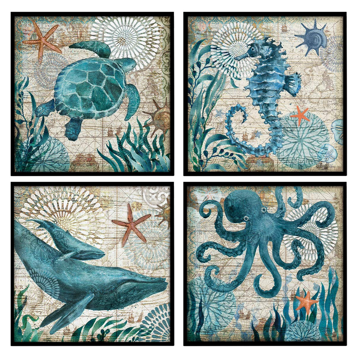 "YOOOAHU 4 Pieces Canvas Prints Home Wall Decor Art Collection of Marine Animals Watercolor Sea Turtle Seahorse Whale Octopus Ocean Animal Pictures Modern Artwork Ready to Hang -12""x12""x4 Panels(BLK)"