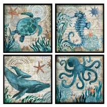 """YOOOAHU 4 Pieces Canvas Prints Home Wall Decor Art Collection of Marine Animals Watercolor Sea Turtle Seahorse Whale Octopus Ocean Animal Pictures Modern Artwork Ready to Hang -12""""x12""""x4 Panels(BLK)"""