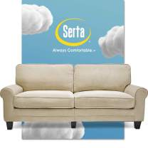 """Serta Copenhagen Sofa Couch for Two People, Pillowed Back Cushions and Rounded Arms, Durable Modern Upholstered Fabric, 78"""", Marzipan"""