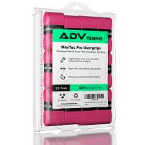ADV Tennis Tacky Overgrip - Extreme Tack - Moisture Wicking - Razor Thin - Exclusive MaxTac Material (12 Pack, Pink)
