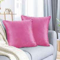 """Nestl Bedding Throw Pillow Cover 20"""" x 20"""" Soft Square Decorative Throw Pillow Covers Cozy Velvet Cushion Case for Sofa Couch Bedroom, Set of 2, Light Pink"""