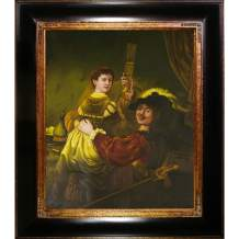 overstockArt Rembrandt and Saskia in The Parable of The Prodigal Son Framed Oil Reproduction of an Original Painting by Rembrandt, Opulent Frame, Dark Stained Wood with Gold Trim