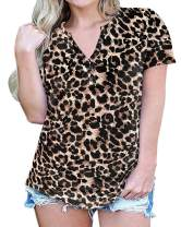 JIOTANG L-4XL Plus Size Tops for Women Henley Shirt Causal Short Sleeve V-Neck Button Tunic