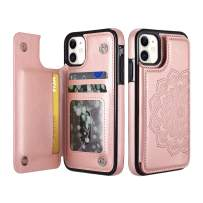 """UEEBAI Case for iPhone 11 Pro Max 6.5"""", Luxury PU Leather Case [Two Magnetic Clasp] [Card Slots] Stand Function Embossed Mandala Pattern Half Flower Durable Soft TPU Back Wallet Cover - Rose Gold"""