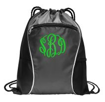 Personalized Monogrammed Cinch Bag with Custom Text | Heavy Duty Shoulder Bag with Customizable Embroidered Monogram Design (Deep Smoke)