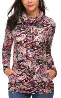KorMei Womens Cowl Neck Floral Printed Casual Hoodie Pullover Tunic Sweatshirts with Pockets