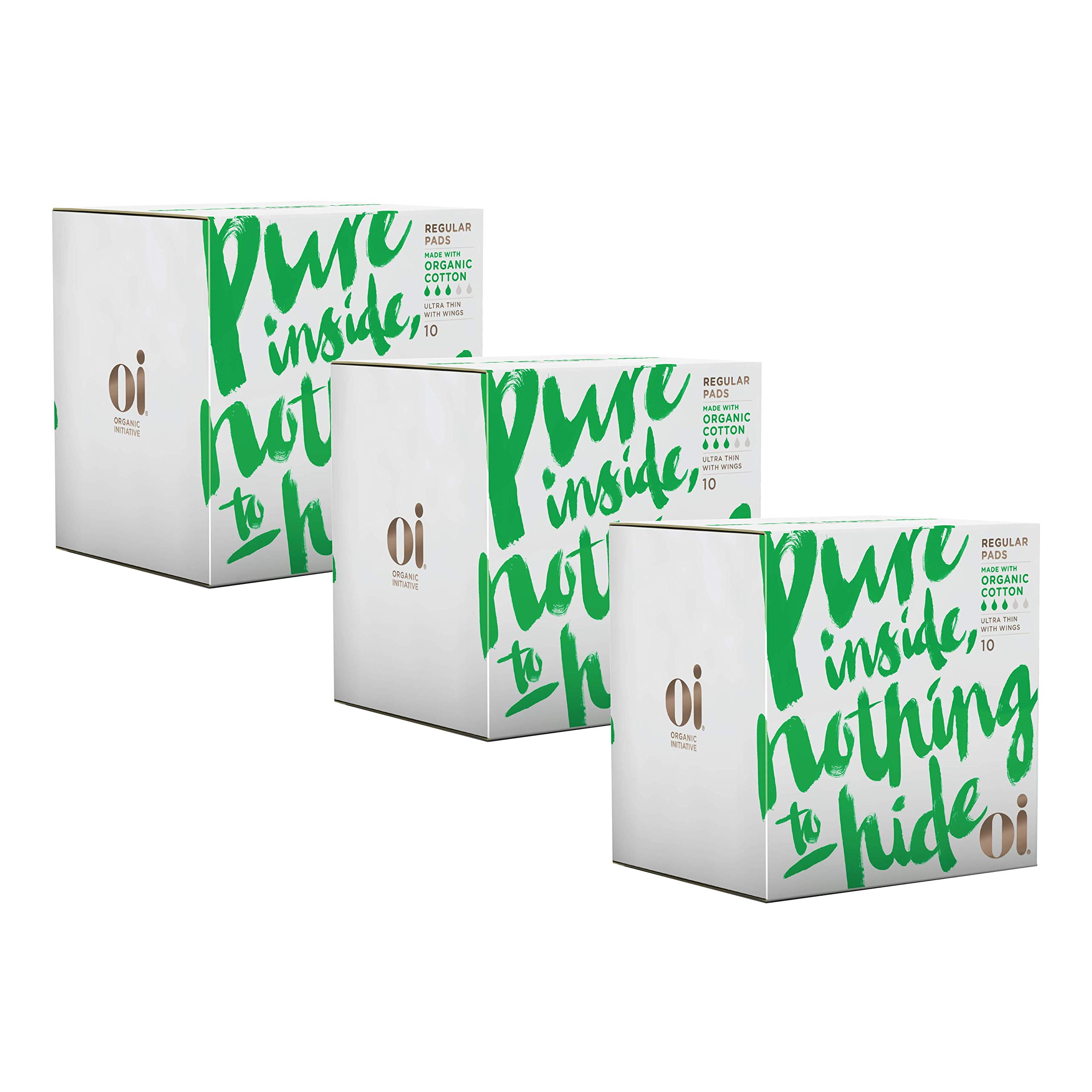 Oi Certified Organic Cotton Pads | 3 Boxes of 10 Regular Pads | Individually-Wrapped